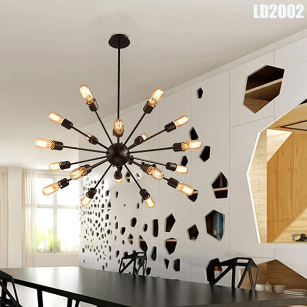 Satellite Chandeliers Vintage Wrought Iron Pendant Lights Room Lighting Spherical Spider Lamp E27 Edison Pendant Lighting Bar Pendant Light Cord