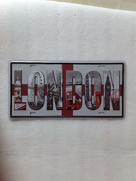 London vintage Metal Plaque Car Number Retro Licence Plate Tin Sign Bar Pub Home Cafe Wall Decor Retro Metal Art Poster