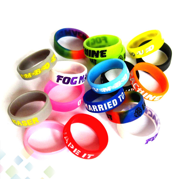 top popular Non-Slip Silicone Ring with Gravure Words Carved filling for E Cig Mod Vapor Silicone Vape Band Non-Skid Silicon Ring DHL Free 2021
