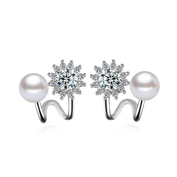New Design Fashion Lady's Simple Shiny Flower Shape White Zircon Pearl 925 Silver Stud Free Shipping