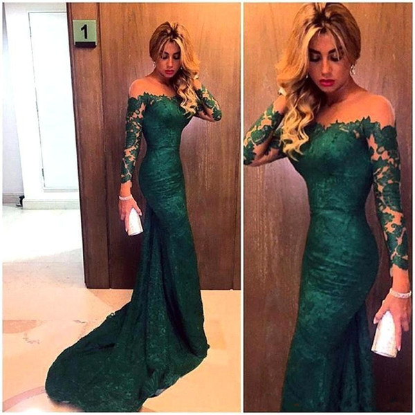 2018 Sexy Cheap Emerald Green Long Sleeves Mermaid Evening Dresses Illusion Mesh Top Off Shoulder Sweep Train Full Lace Prom Evening Gowns