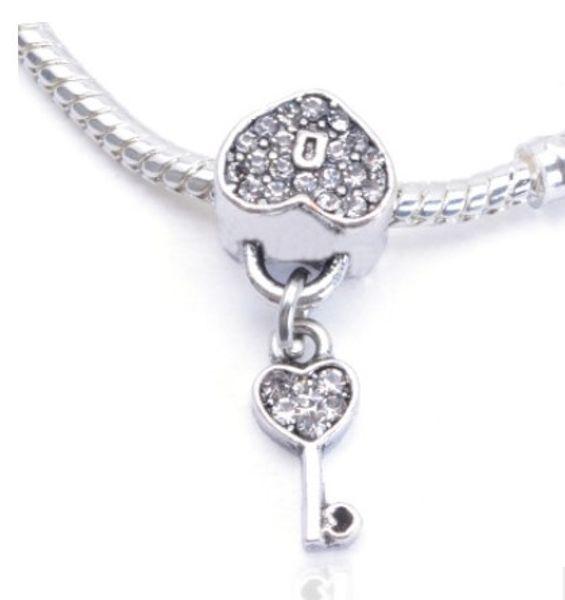 Fit Pandora Charm Bracelet Lock Key Heart CZ Crystal European Silver Bead Charms Beads DIY Snake Chain For Women Bangle & Necklace Jewelry