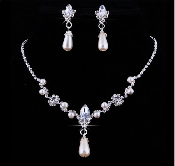 Bling Bridal Jewelry Imitation Pearls Bride Prom Wedding Jewellery Sets 2016 Necklace Drop Earrings Cinderella Accessories New 2017