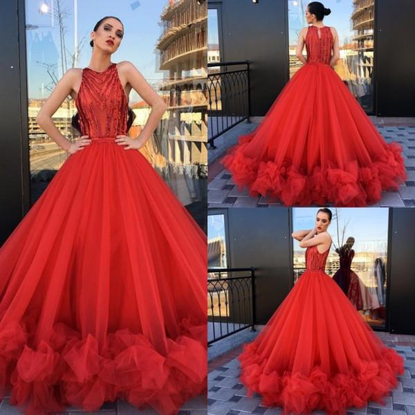 Barato Tulle Ball Gown Red Prom Vestidos Lantejoulas Ruffles Jewel Decote Evening Vestidos Plus Size Vestido de Festa Formal