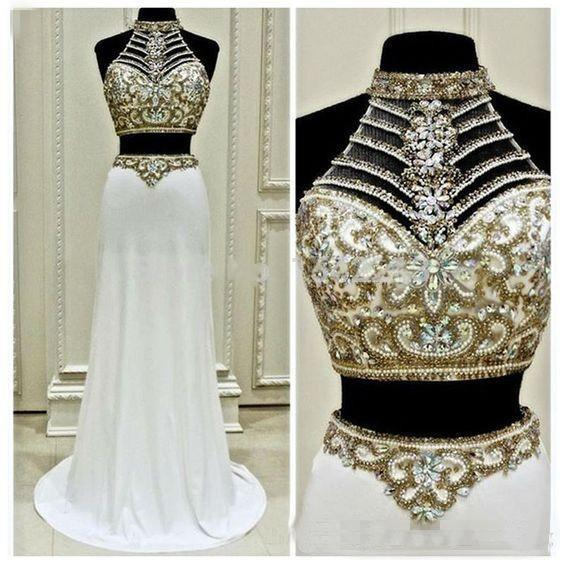 2017 Sexy New Fashion Two Pieces Formal Pageant Evening Dresses Luxury Beaded Crystals Long Halter Prom Gowns For Teens White Chiffon