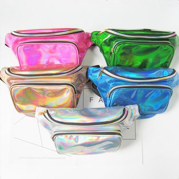 best selling 50PCS 2017 New women metallic silver Fanny Waist bag chest pack sparkle festival hologram purse travel bag 5colors size 18*30*7cm