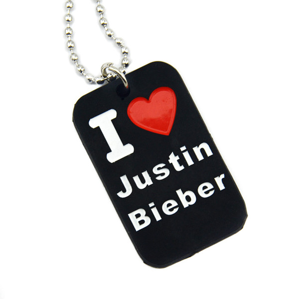 1PC I Love Justin Bieber Silicone Dog Tag with 24 Inch Ball Chain Filled In Colour Logo