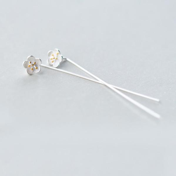5 pairs/lot Elegant Pure 925 Sterling Silver Vintage Lotus Flower Earrings For Women Statement Jewelry Pendientes Brincos