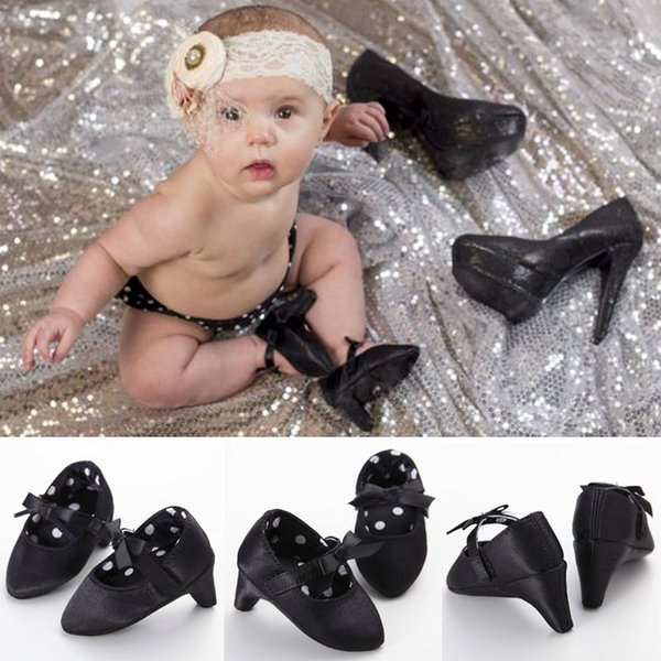 Venta al por mayor- 6Colors Bebé recién nacido Girsl Princesa Moda Dulce adorable Infant Toddler First Walkers Shoes Cuna Prewalker Bow High Heels 0-1T