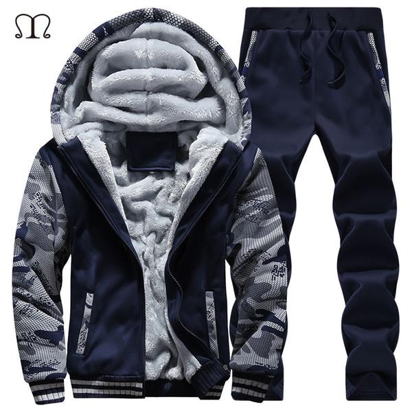 Großhandels-Winter Mens Warm Set Fleece Hoodies für Männer Trainingsanzug Marke Kleidung Sudaderas Hombre RunningMens Anzüge Männlichen Kleidung D62