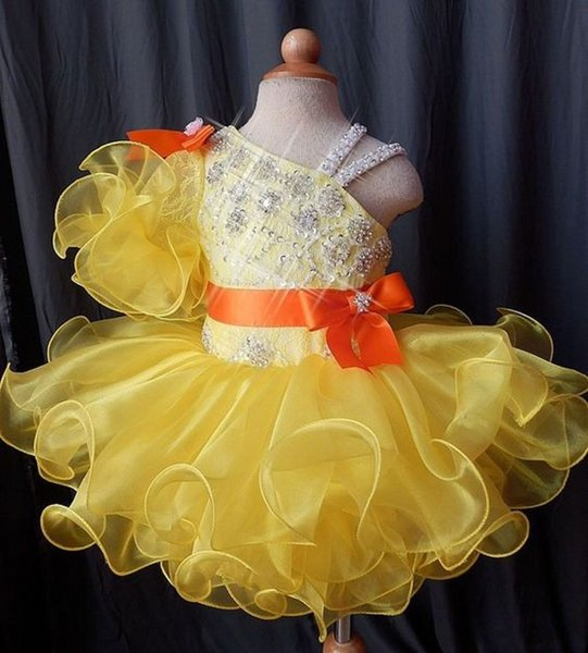 Latest Mini Short Ball Gown Tutu Cupcake Little Kids Toddler Pageant Dresses Yellow Beaded Ruffles Flower Girls Dresses