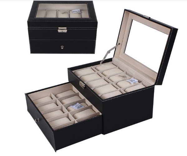 Black leather 2.3.5.6.8.10.12.20.24 watch box with glass Top Display & Storage Case watch box