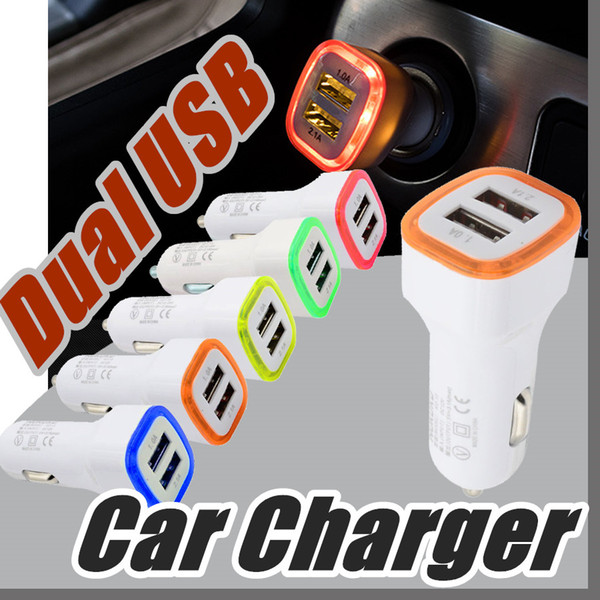 Rocket Design LED light 5v 2a Dual USB Car Charger adapter For iPhone 6 6S 7 Plus Samsung Galaxy S7 Universal