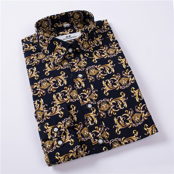 Wholesale- Summer New Mens Casual Shirts Fashion Long Sleeve  Printed Male Plus Size Formal Business Polka Dot Floral Men Dress Shirt