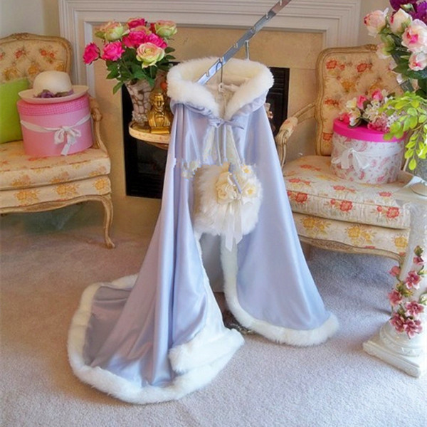 Long Satin white Wedding Cloak Fur Trim Junior Bridesmaid Cape for Communion dress flower girl jacket princess outfit with muff