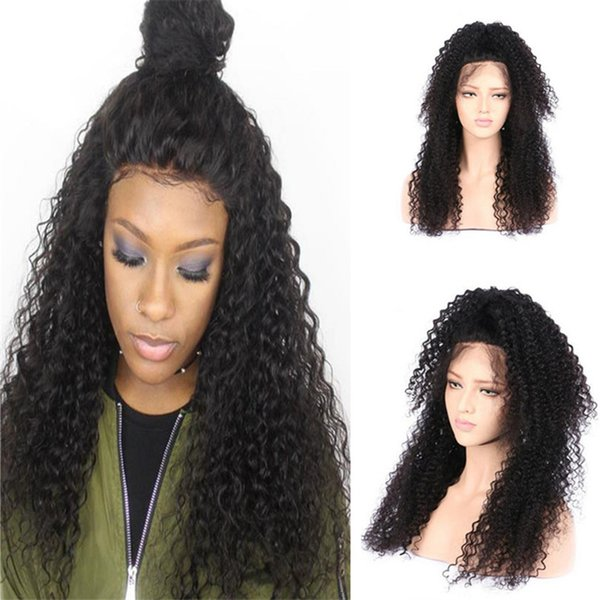 High quality 1b virgin peruvian curly hair high ponytail kinky curl lace front wigs glueless free shipping