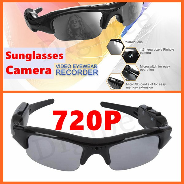 Wholesale- New Coolest HD 720P Eyewear Digital Camera Audio Video Recorder Video Glasses Mini Camcorders DV DVR Sunglasses With Camera