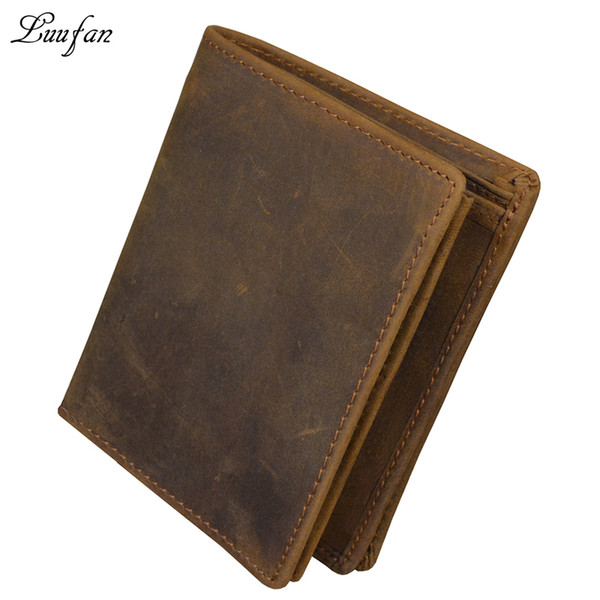 Wholesale- Men's crazy horse leather pocket wallet Brown genuine leather wallet with inner zipper pocket Vertical cowhide purse fast Post