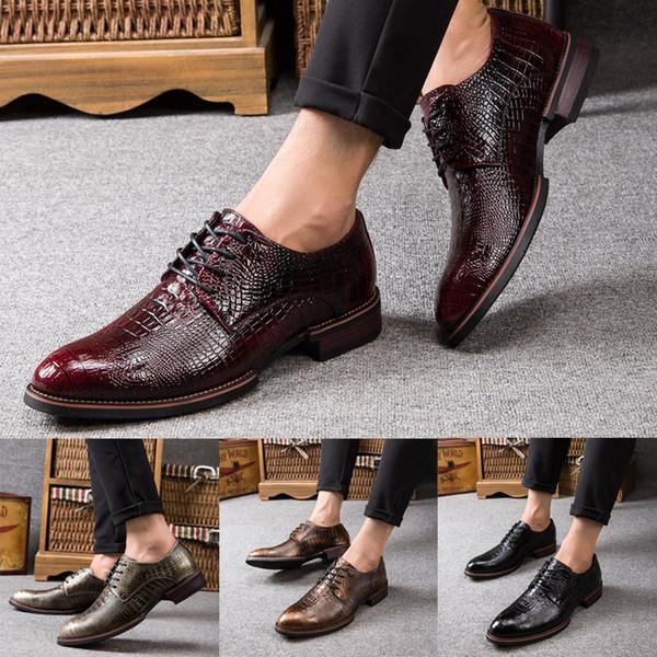 Imitation Crocodile Skin Vintage Design Men's Casual Leather Shoes men Dress leather shoes(Black,Brown,wine Red,Bronze)