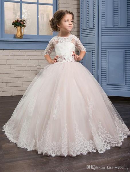 2017 Boho Lace Flower Girl Dresses For Summer Garden Weddings Knee Length Crew Neck Kids Formal Wears Girls Birthday Dresses with Bow Sash