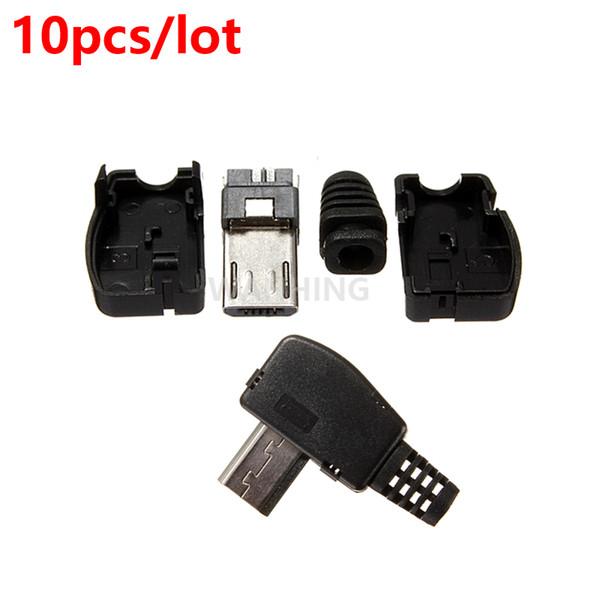 All'ingrosso-10pcs / lot Nuovo plastica ad angolo retto Micro USB 5Pin 5P porta metallo maschio presa presa con coperchio in plastica HY1418 * 10