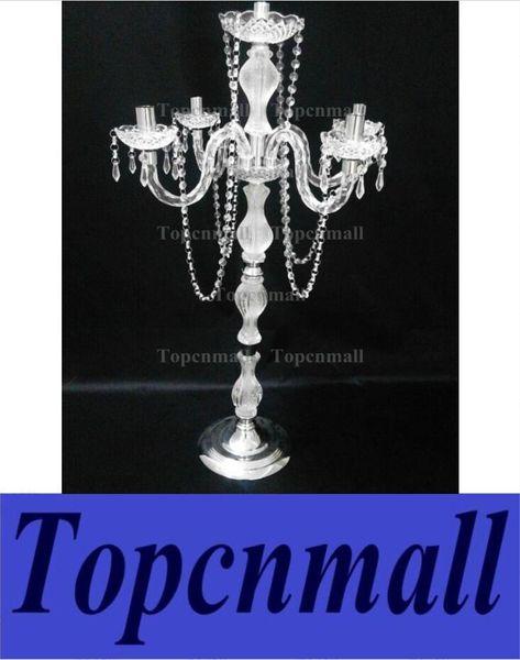 Atacado de alta 35 'acrílico Crystal Clear Candelabra na base de metal com fivela de cristal para centrais centrais do casamento