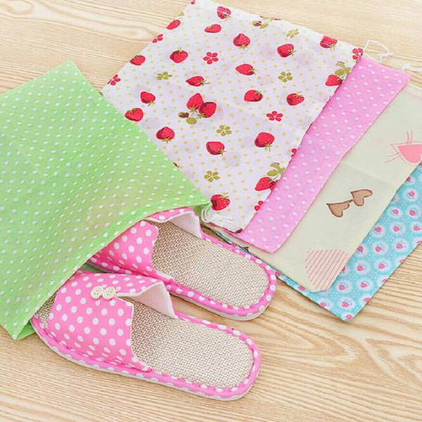 non-woven shoes bags pouch storage bags cute travel portable tote drawstring bag organizer dust cover wardrobe storage