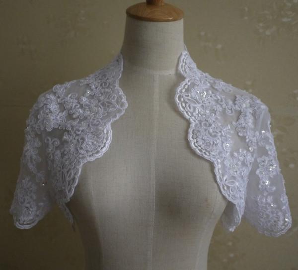 Discount Lace Jacket Applique Beads 2017 Weddings Bridal Coat Short Sleeves Wedding Jacket White Ivory Real Photos Lace Bolero