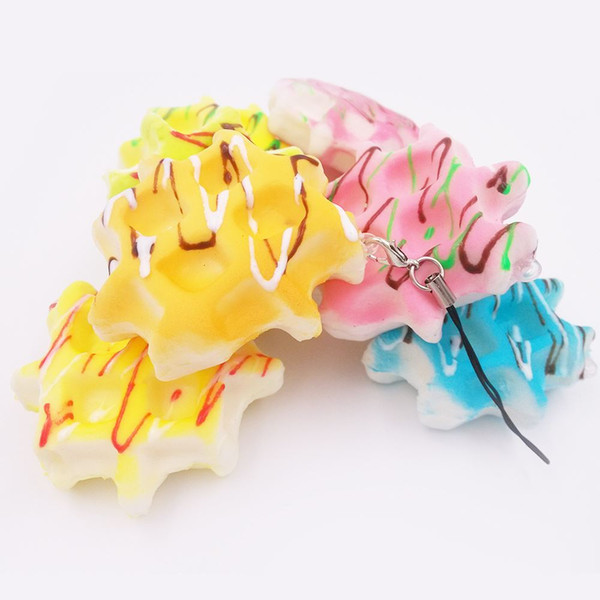 Big monkey NEW 40pcs/Lot Kawaii Soft PU Candy Colors Biscuits Squishy Charm Waffle Phone Straps