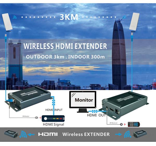 Freeshipping Wireless HDMI Extender IR Support 1080P si estende fino a 300m massimo indoor e 3KM massimo outdoor Wireless HDMI Extender 5.8GHZ