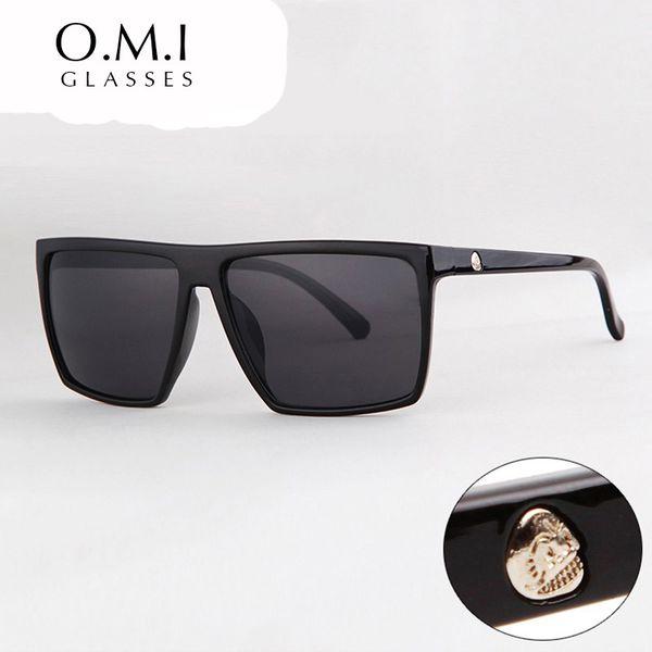 Lunettes de soleil carrées en 2017 SKULL Logo Unisexe Cadre en plastique Résine Lentille Lunettes de soleil noires Homme oculos Marque Designer OM320