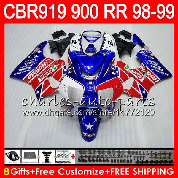Body For HONDA CBR 919RR CBR900RR CBR919RR 98 99 CBR 900RR 68NO16 Castrol red CBR919 RR CBR900 RR CBR 919 RR 1998 1999 Fairing kit 8Gifts