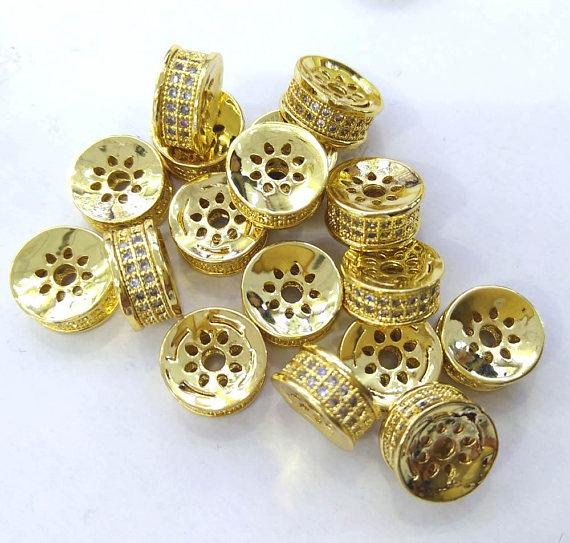 Special SALE --12pcs 8\10\12mm Micro Pave Cubic Zirconia Rondelle heishi Beads-CZ Pave Bead-jewelry findings,Spacer-Diamond Style