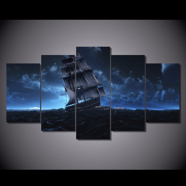 5 Pcs/Set Framed HD Printed Sail Ship Sea Trip Wall Art For Kid Room Canvas Print Poster Canvas Pictures Painting