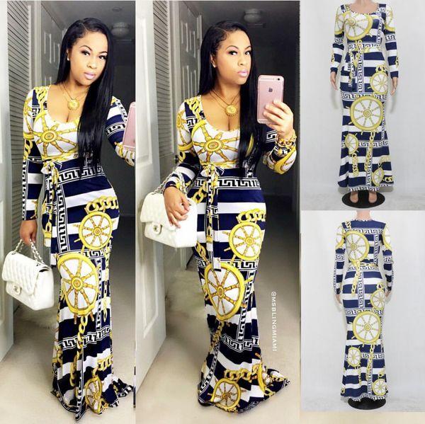 Sexy Maxi Casual Dress Manches Longues Couleur Fleur Longuette Mode Jupe Sash Vêtements Dames Bodycon Travail Denim Robes Pas Cher
