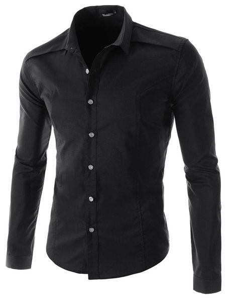 2017 Wholesale Fashion Pure Color Style Men'S Slim Fit Long Sleeve ...