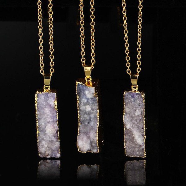 Wholesale Quartz Crystal gold plated blue agate sliced Irregular Natural stone pendants chain necklace Druzy Jewelry free shipping
