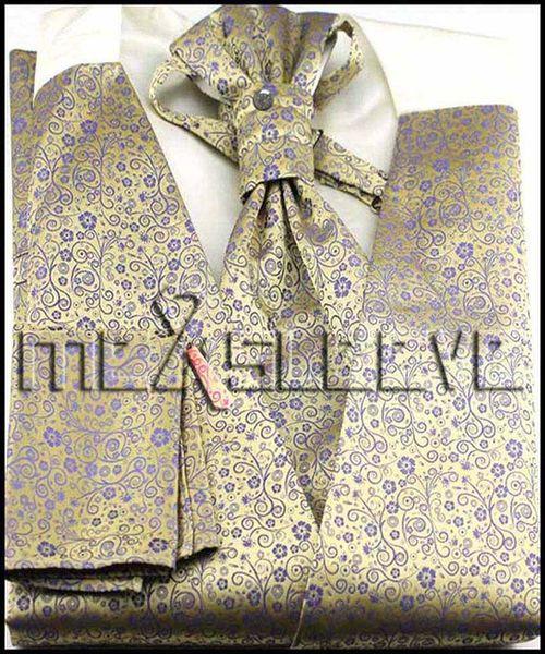 Toptan Satış - Erkek Suit Smokin Elbise altın çiçek damat Yelek (yelek + ascot kravat + kol düğmeleri + mendil)