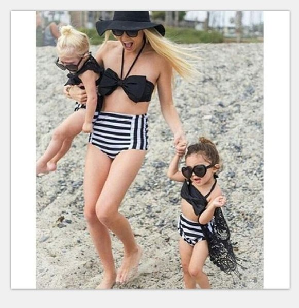 top popular 2017 Family Matching Outfits Mother And Daughter Summer Swimsuit Kids Parent Black Striped Swimwear Baby Girls Clothes Family Look 2019