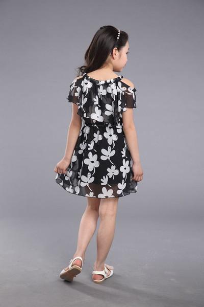 Vestidos da menina grande de verão 2017 novas roupas infantis crianças flower dress chiffon princesa traje meninas crianças 7 8 9 10 11 12 anos