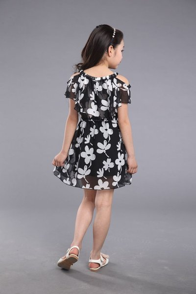 Big Girl Dresses Summer 2017 New Children's Clothing Kids Flower Dress Chiffon Princess Costume Girls Kids 7 8 9 10 11 12 Years