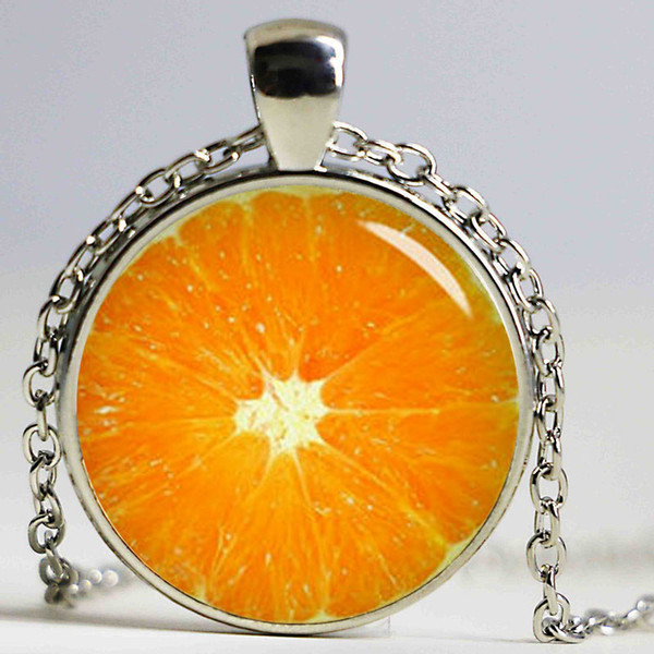 Steampunk fashion Chain Glass Dome Necklace Handmade Orange Pendant Antique Bronze Plated Necklace Chain For Women men vintage