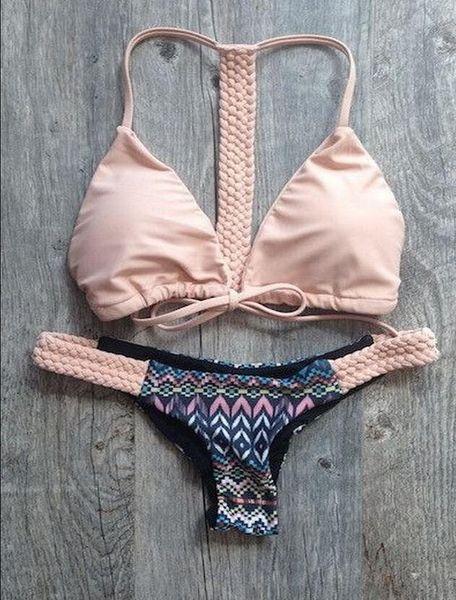 Bikinis Low Waist Swimwear Sets Sexy Women Micro mini G-String Brazilian bikini swimwear micro triangle bra top halter ties with g-string