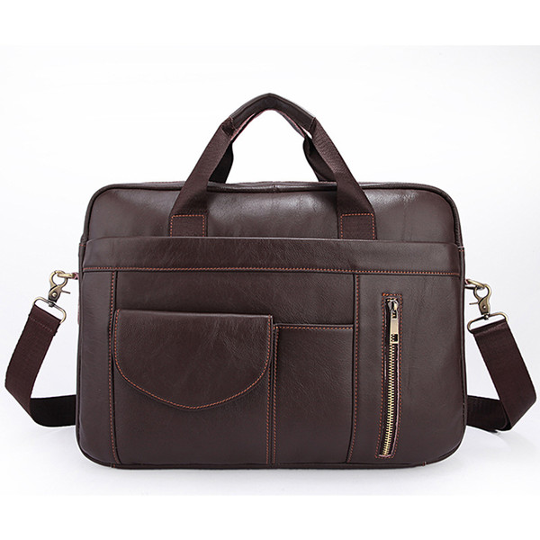 Genuine Lether Solid Color Men Handbag Zipper Casual Male Computer Bag Cow Leather Business Men Briefcase