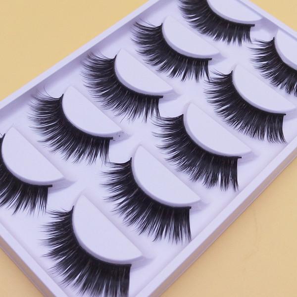 A-6 Thick Makeup Long Fake Eyelashe Quality Handmade False Eyelashes Natural Fiber End Of Eye Slim Models Thick False Eye Lashes