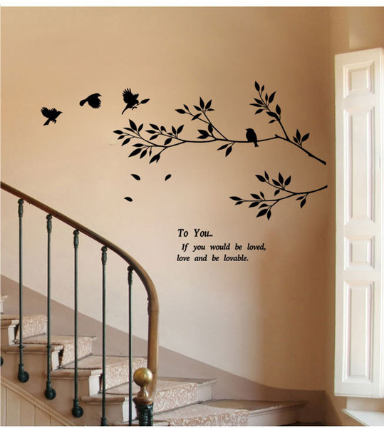 9057 New Tree Branch Black Bird Art Wall Stickers To You If You Would Be Loved Motivation Decals Removable Vinyl