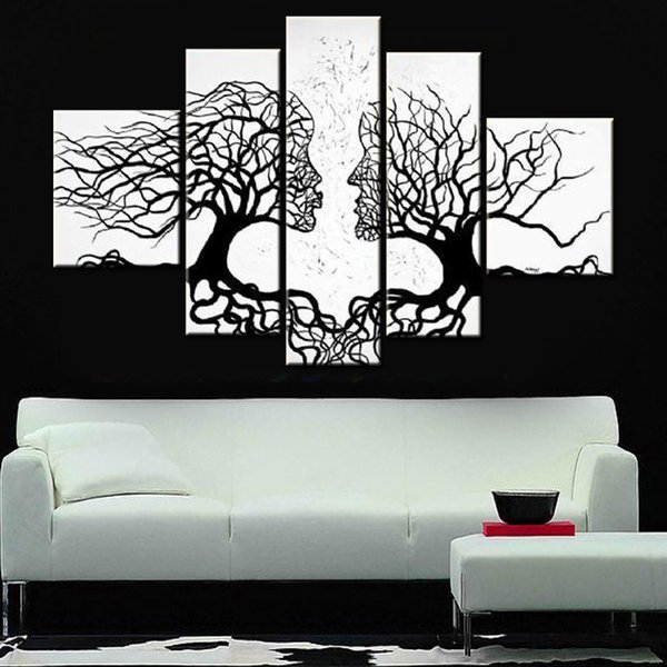 hand painted black white canvas wall art 5 pcs modern designed oil painting couple kissing lover wall picture home decoration
