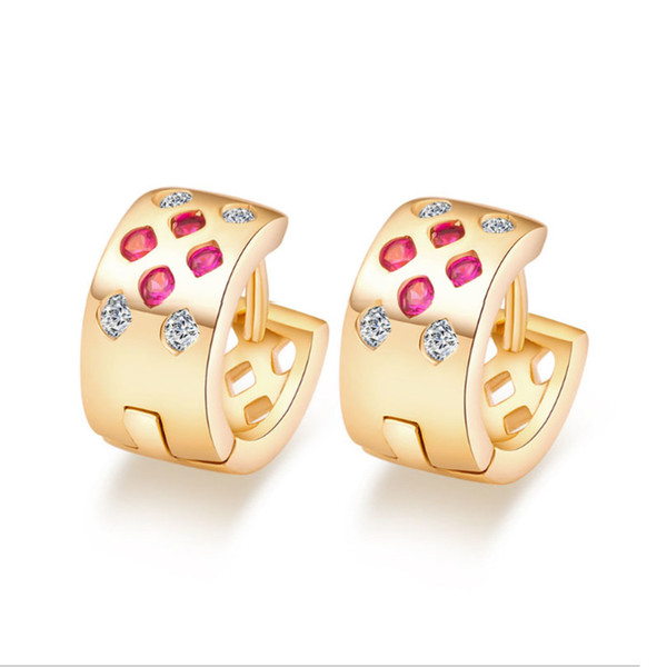 Small Mini White & Red Austrian Crystal 18K Yellow Gold Plated Hoop Huggie Earrings Fashion Party Costume Jewelry for Women