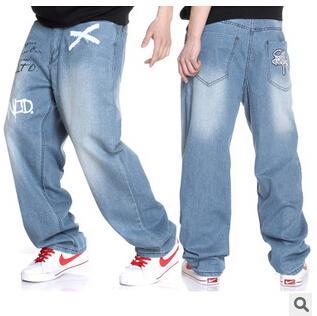 Atacado-2016 novos europeus e americanos hip-hop impressão solta bordado moda mais fertilizantes para aumentar jeans masculinos baratos por atacado