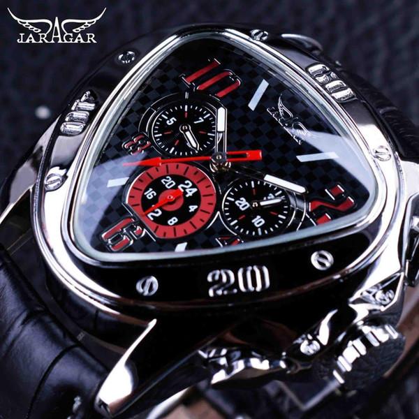 Jaragar Sport Racing Design Triangulo geométrico Hollow correa de cuero genuino Relojes para hombre Top Brand Luxury Date Day automático reloj de pulsera